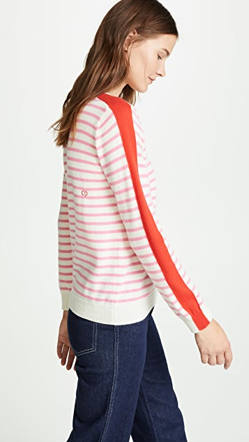 Stripe Sleeve Cashmere Sweater by Chinti And Parker