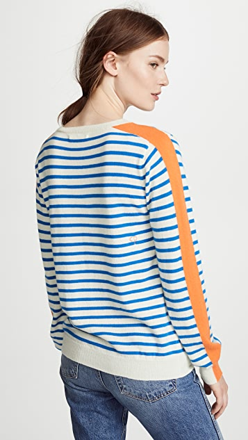 Chinti and Parker Stripe Sleeve Cashmere Sweater