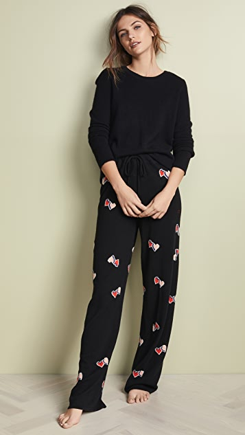 Chinti and Parker Cashmere Twin Heart PJ Bottoms