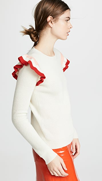 Chinti and Parker Stripe Frill Cashmere Sweater