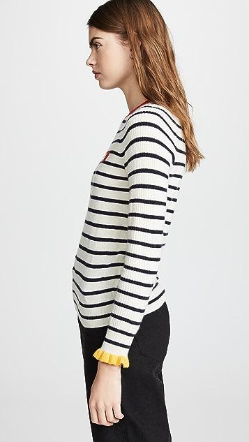 Chinti and Parker Frill Cuff Cashmere Sweater