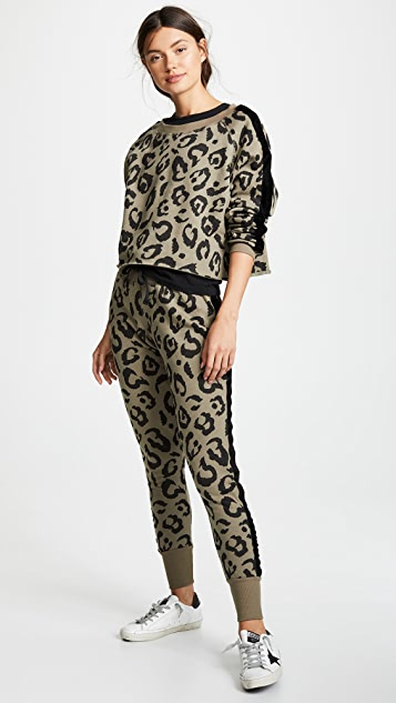 CHRLDR Big Leopard Velvet Stripe Sweatpants