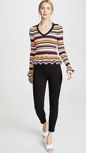 Cinq a Sept Striped Zana Ribbed Pullover