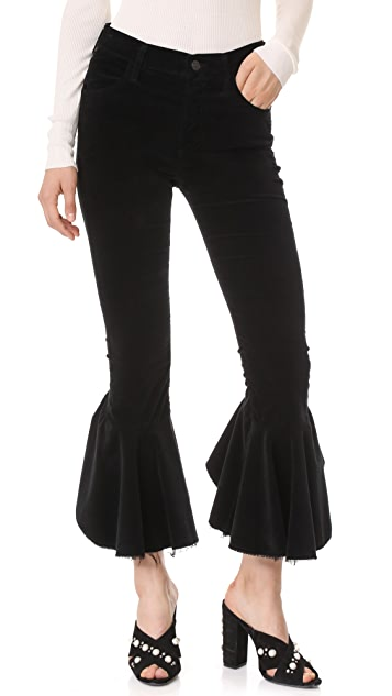 Citizens of Humanity Velvet Drew Flounce Pants - Velvet Noir