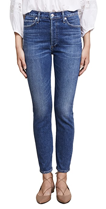 Citizens of Humanity Olivia High Rise Slim Ankle Jeans - Solo