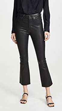 Demy Leather Cropped Flare Pants