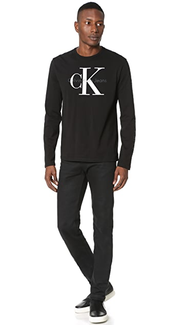 Calvin Klein Jeans logo print long sleeved top Women Clothing,calvin klein  sweatshirt,Authorized Site