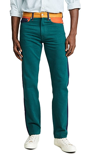 Calvin Klein Jeans Straight Blocked Color Ukelely Patch Jeans