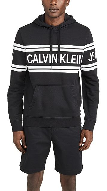 Calvin Klein Jeans Varsity Traveling Logo Crossover Hoodie