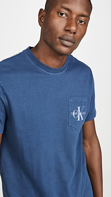 Calvin Klein Jeans Garment Dyed Monogram Pocket Tee