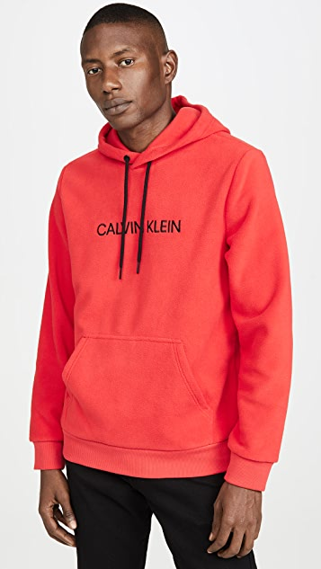 Calvin Klein Jeans Institutional Logo Polar Fleece Popover Hoodie
