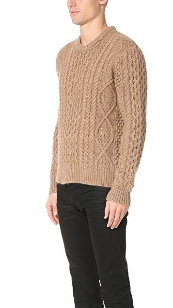 Calvin Klein Collection Nastro Camel Blend Cable Knit Sweater