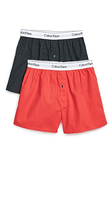 Calvin Klein Underwear Modern Cotton Stretch 2 Pack Woven Boxers