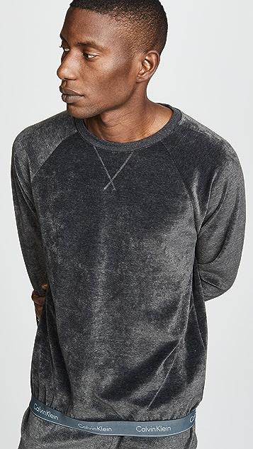 Calvin Klein Underwear Modern Long Sleeve Cotton Stretch Velour Sweatshirt