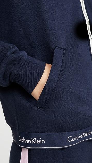 Calvin Klein Underwear 时尚棉质居家全拉链连帽上衣