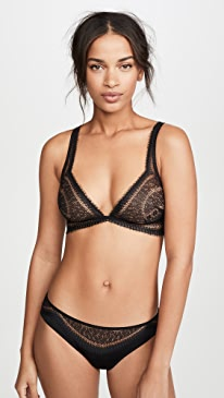 Black Medallion Lace Unlined Triangle Bralette