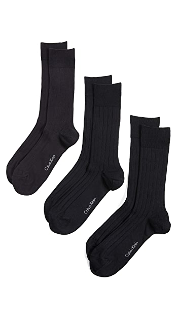 Calvin Klein Underwear 3 Pack Rib Dress Crew Socks