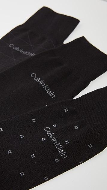 Calvin Klein Underwear 3 Pack Pattern Cotton Dress Socks
