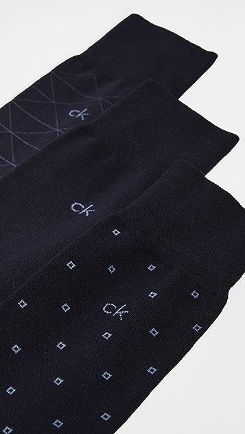 Calvin Klein Underwear 3 Pack Pattern Crew Socks