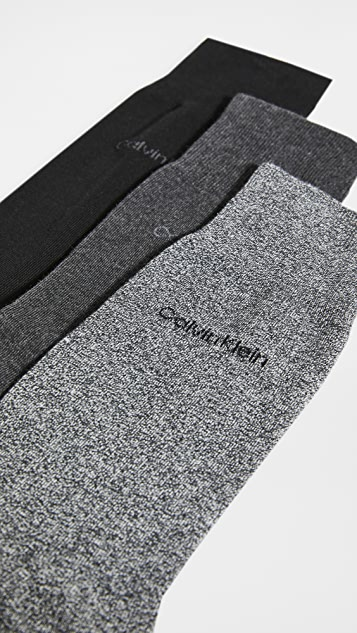Calvin Klein Underwear 3 Pack Flat Knit Dress Socks