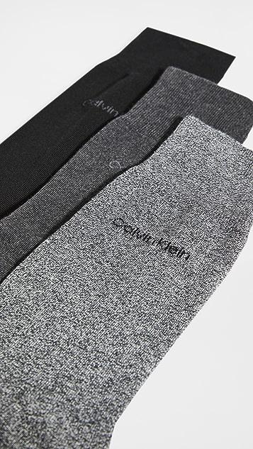 Calvin Klein Underwear 3 Pack Flat Knit Dress Socks
