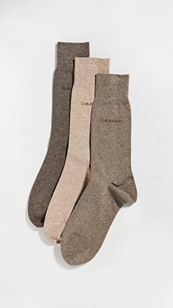 Calvin Klein Underwear 3 Pack Flatknit Dress Socks