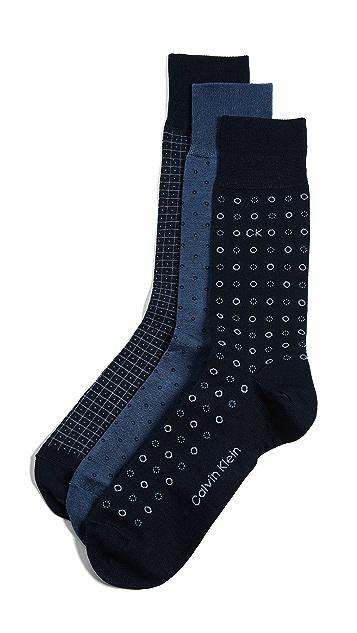 Calvin Klein Underwear 3 Pack Multi Print Crew Socks