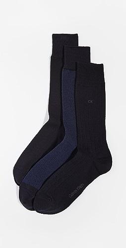 Calvin Klein Underwear - 3 Pack Birdseye Dress Socks