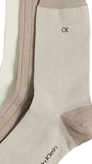 Calvin Klein Underwear 3 Pack Birdseye Dress Socks