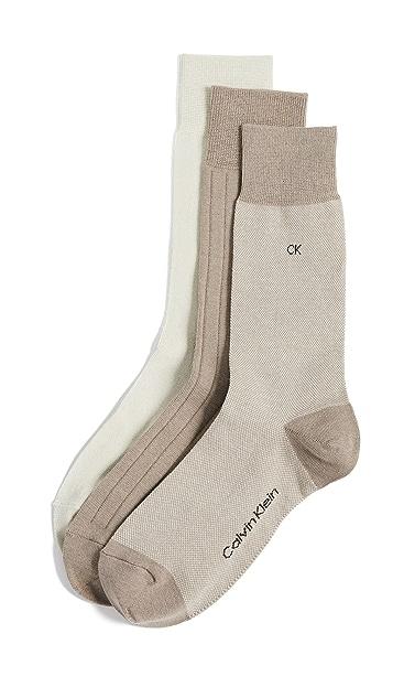 Calvin Klein Underwear 3 Pack Birdseye Dress Socks