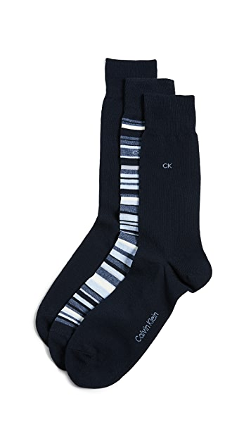 Calvin Klein Underwear 3 Pack Multi Stripe Dress Socks