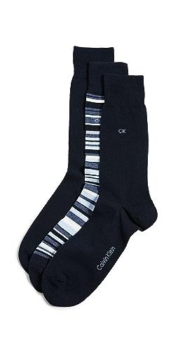 Calvin Klein Underwear - 3 Pack Multi Stripe Dress Socks