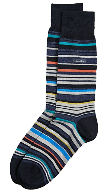 Calvin Klein Underwear Barcode Stripe Dress Socks