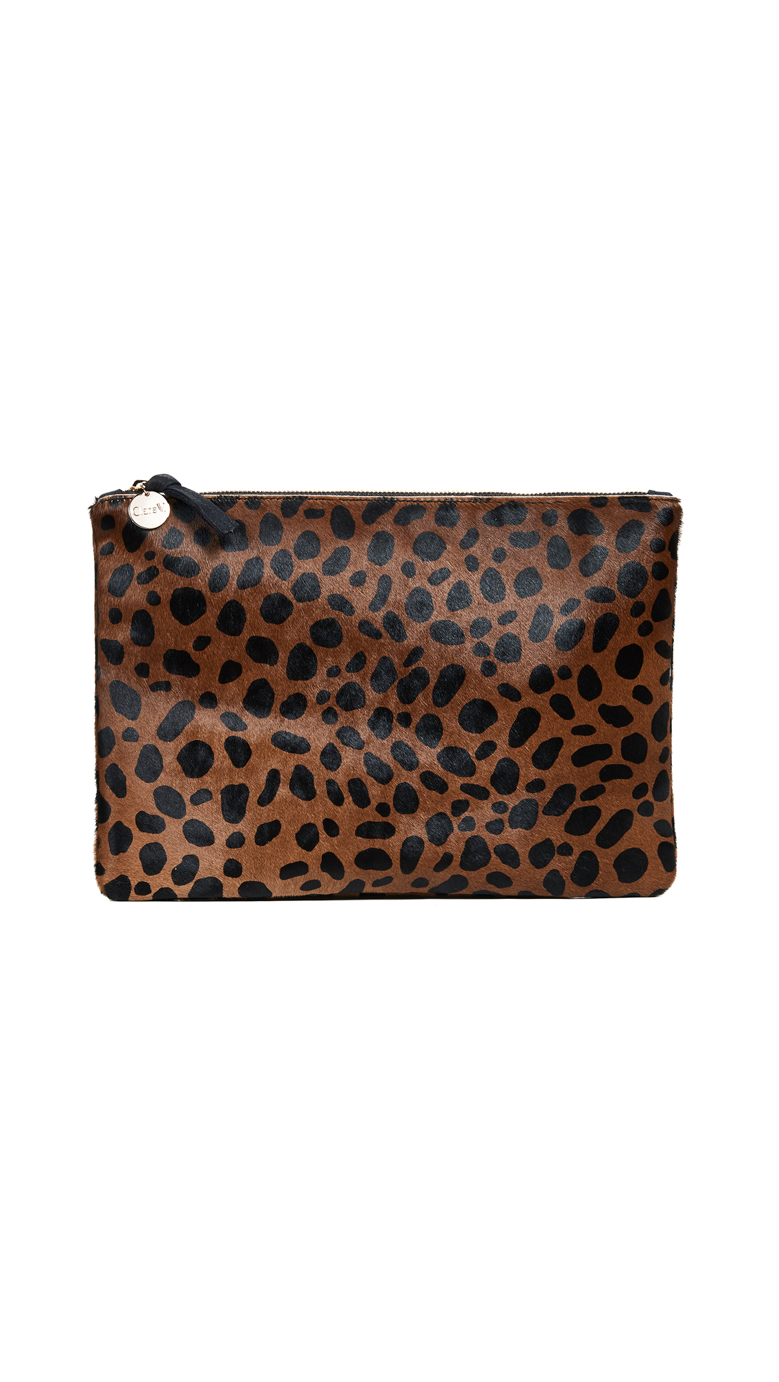 Clare V. Leopard Flat Haircalf Clutch