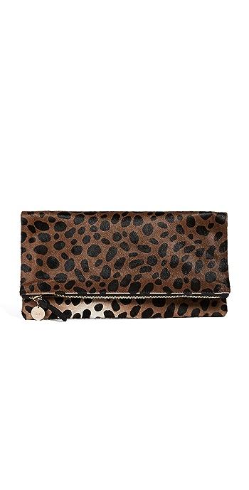 Clare V. Supreme Haircalf Fold Over Clutch - Leopard