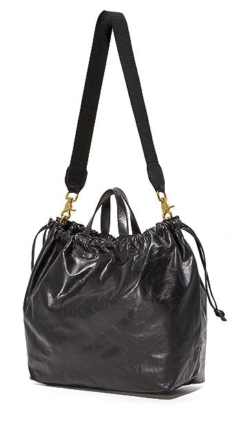 ClareV. Объемная сумка с короткими ручками на завязке