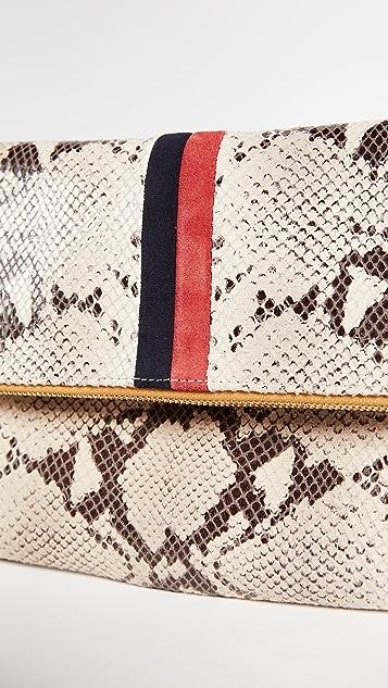 Clare V. Fold Over Snake Print Clutch