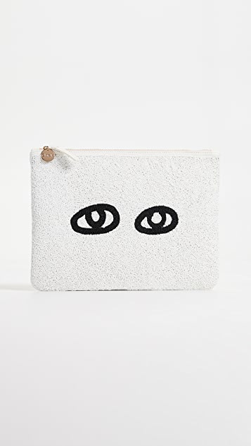 Clare V. Flat Beaded Clutch