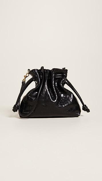 Clare V. Petit Henri Supreme Bag with Drawstring - Black Croco
