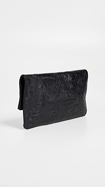 Clare V. Tooled Floral Foldover Clutch