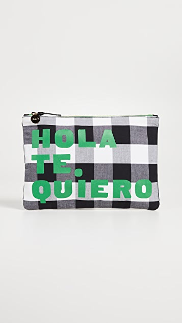 Clare V. Gingham Hola Flat Clutch