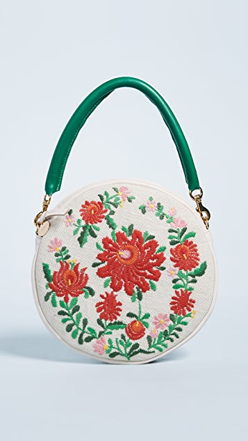 Clare V. Embroidered Circle Clutch