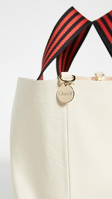ClareV. Объемная сумка с короткими ручками Bateau