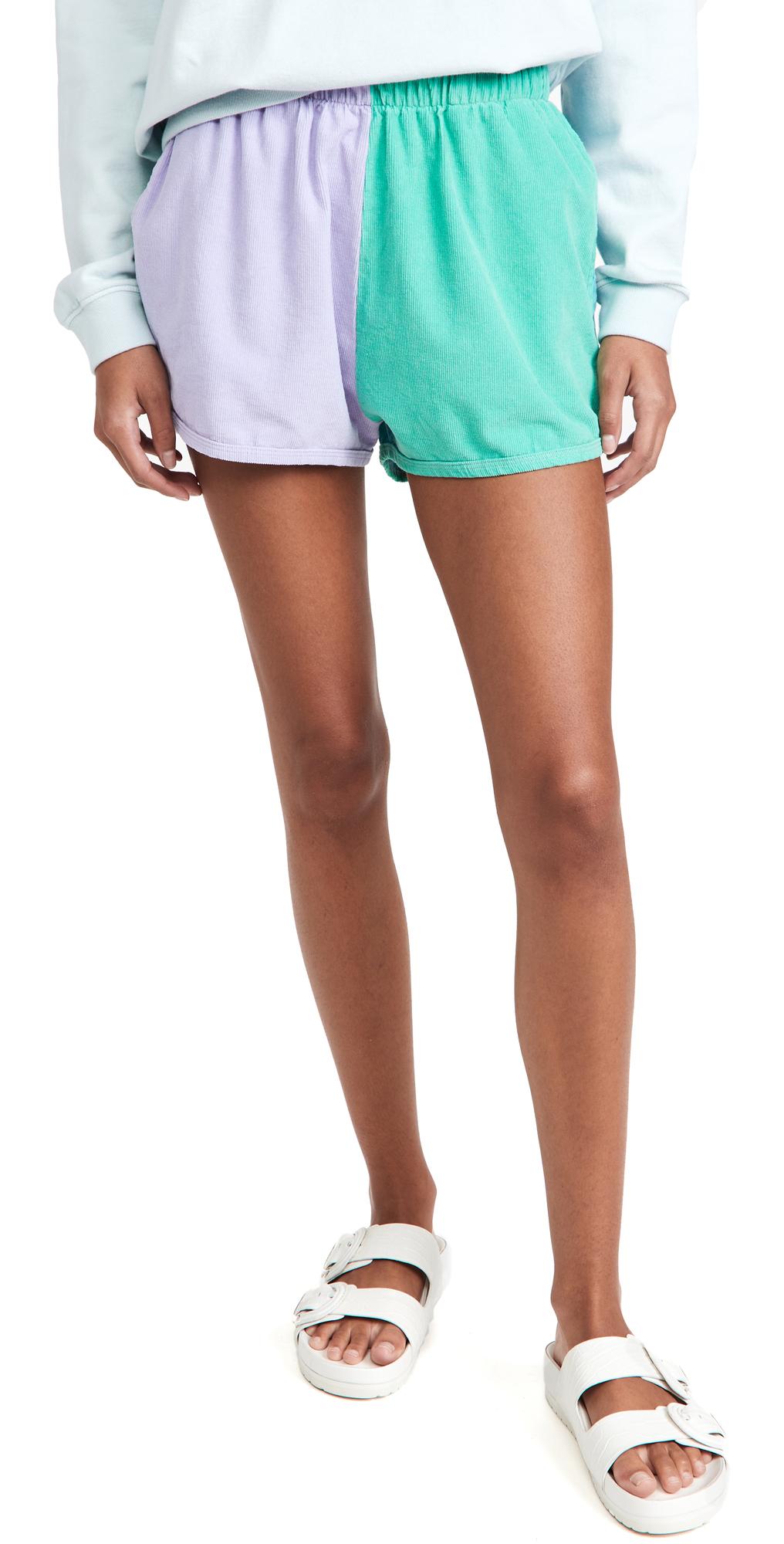 Colorblock Corduroy Shorts