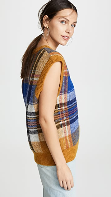 Closed Plaid Sleeveless Knit