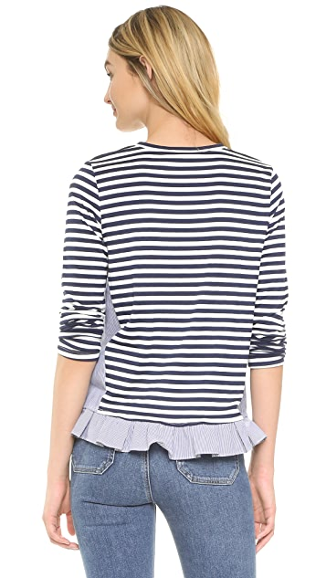Clu Clu Too Ruffled Striped Top