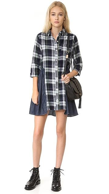 Clu Clu Too Mix Media Plaid Dress