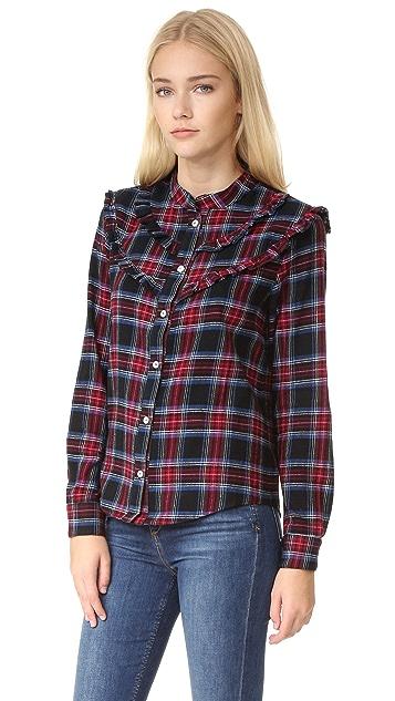 Clu Plaid Shirt with Ruffled Bib Detail