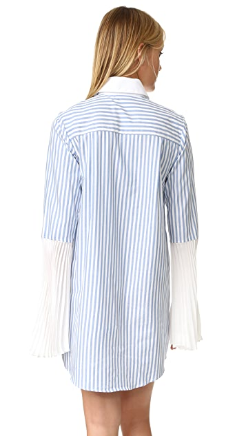 Clu Striped Button Down Shirtdress