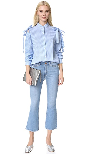 Clu Open Shoulder Shirt with Bow